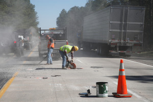 VDOT contractors fill potholes on I-85 north in Dinwiddie County Va.